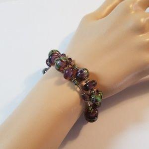 Purple and Green Glass Murano Bead Bracelet